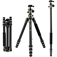 BONFOTO 55 B671C Carbon Fiber Travel Tripod with Ball Head 8KG Load Capacity with 1/4 Screw Quick Release Mounting Plate for Digital or Video Canon Nikon