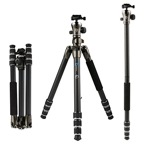 BONFOTO 55″ B671C Carbon Fiber Travel Tripod with Ball Head 8KG Load Capacity with 1/4″ Screw Quick Release Mounting Plate for Digital or Video Canon Nikon