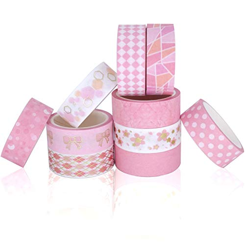(Washi Tape Set, Washi Tape Pink, Decorative Tape, Colored Tape, Scrapbooking Supplies, School Supplies, for Planners, Arts, Crafts, DIY, Gifts Warpping, Diary)
