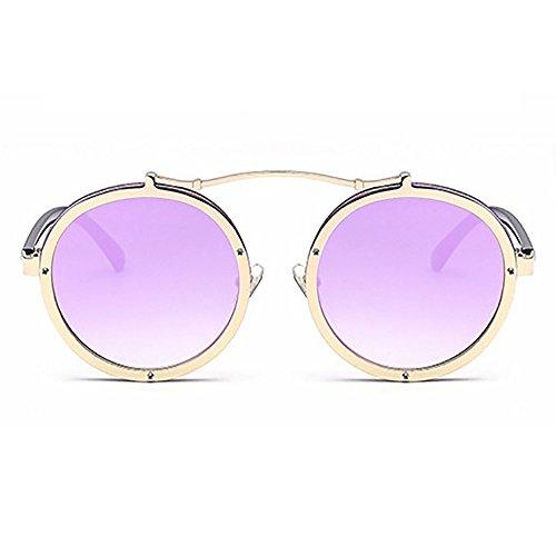 Hombres sol Morado de la sol UV400 Gafas Diseñador Punky góticas de Envoltura de Espejo metal Steampunk gafas marca Redonda Mujeres de Gafas TqxFIUO1