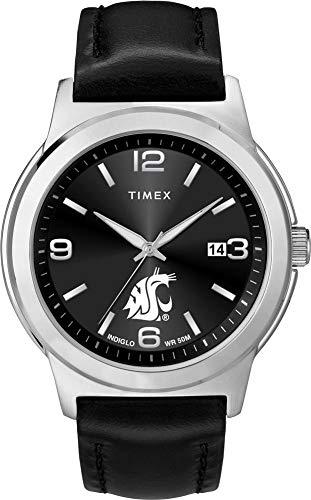 Timex Men's Washington State University Watch Black Leather Band Ace