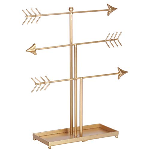Yamfurvo 3 Tier Arrow Jewelry Organizer Stand, Metal Jewelry Display Stand with Ring Tray, Decorative T-bar Jewelry Holder for Necklace, Earring, Bracelet, Watch, Gold - In Vintage Earrings Ball