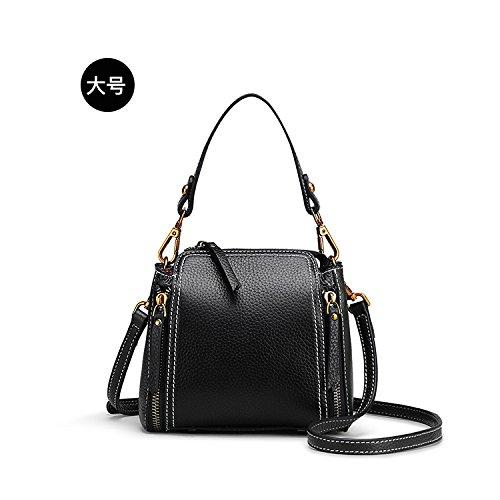 Nouveau sac à main de femme première couche cuir véritable sac à bandoulière Messenger litchi retro double zipper sac, noir, petit