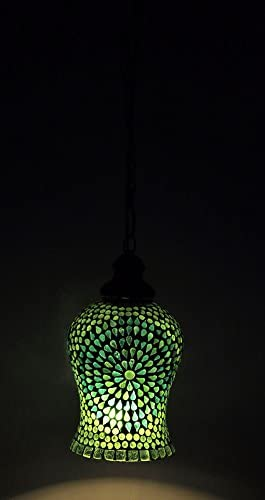 Lalhaveli Traditional Handmade Glass Hanging Lamp Pendant 6 X 10 Inches