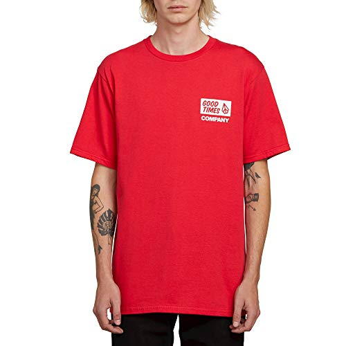 (Volcom Men's Good Basic Fit Short Sleeve Tee, True red, Small)