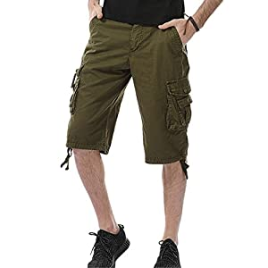 LOGEEYAR Men's Casual Solid Cotton Twill Multi-Pocket Cargo Shorts Outdoor Wear