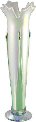 American Hand-Blown Iridescent Glass Vase