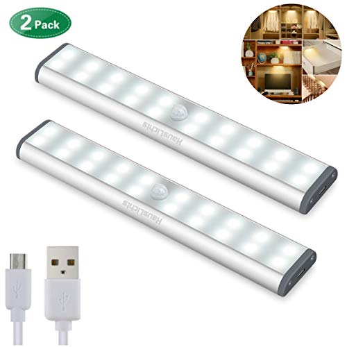 Motion Sensor Cabinet Light,Under Counter Closet Lighting, Wireless USB Rechargeable Kitchen 20 LED Lights,Battery Powered Operated Light, Stick On Lights for Wardrobe,Closets,Cabinet,Cupboard 2Pack