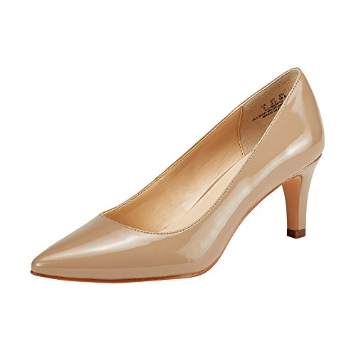 Womens Mid Heel Shoes - JENN ARDOR Women's High Heels Ladies Pointed Toe Slip On Mid Heel Dress Party Pumps Natural 6.5 (9.2in)