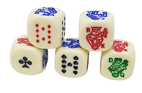 Da Vinci 6 Sided poker dice. Play a game of draw poker with these special dice (6 Side Poker Dice)