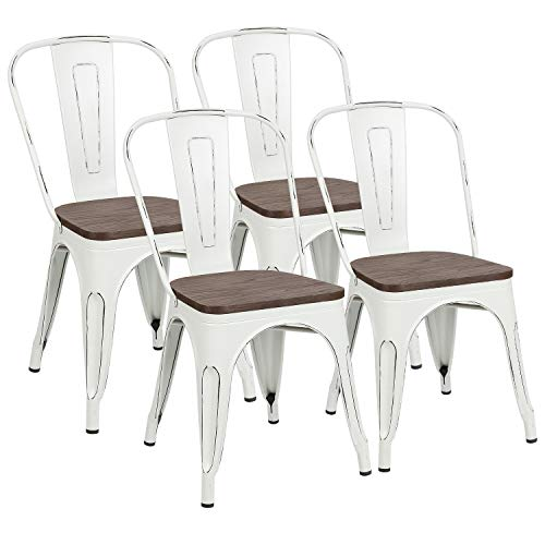 Metal Dining Chairs with Wood Seat, Distressing Tolix Style Indoor-Outdoor Stackable Industrial Chair with Back Set of 4 for Kitchen, Dining Room, Bistro and Cafe White