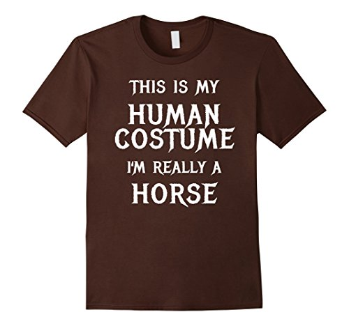 Horse Costume Diy (Mens Horse Halloween Costume Shirt Easy Funny for Kids Adults 2XL Brown)