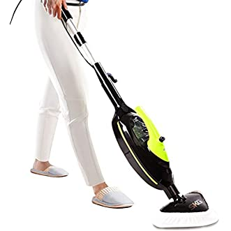SKG 1500W Powerful Non-Chemical 212F Hot Steam Mops & Carpet and Floor Cleaning Machines (6-in-1 Accessories & 3 Microfiber Pads Included)