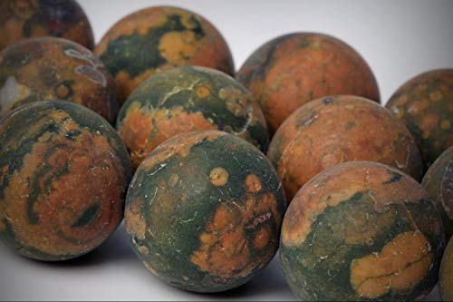 Approx. 25 Beads Lot - 15mm Matte Rainforest Rhyolite Color Grade AAA Round Loose Jewelry Making Beads 15.5