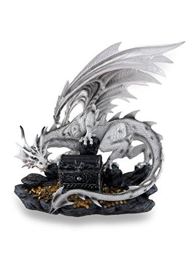 White Horned Dragon Guarding Treasure Chest Stash Box Statue 20 in. (Treasure Guarding Dragon Figurine)