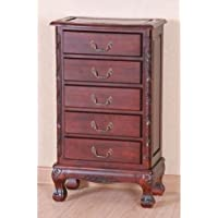 International Caravan 3886-IC Furniture Piece Carved Wood Five Drawer Jewelry Chest