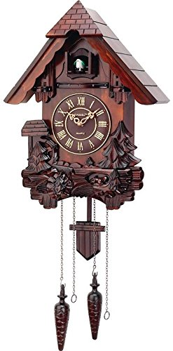 Cuckoo Clock Hand Carved Wooden Accents Precise Quartz Movement by ARAD