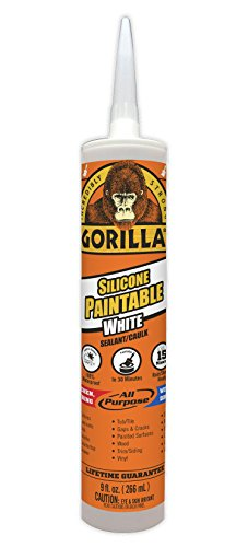 Gorilla Paintable Silicone Sealant Caulk, Waterproof and Mold & Mildew Resistant, 9 ounce Cartridge, White, (Pack of 1)