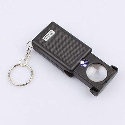 45 X Magnifying Glass LED Multi-Purpose Pull-Type Light Source Jewelry Identification Metal Keychain Magnifier