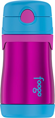 Thermos FOOGO Vacuum Insulated Stainless Steel 10-Ounce Straw Bottle, Aubergine/Blue