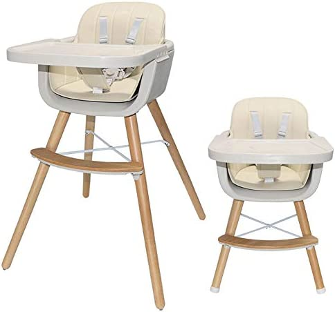 Asunflower Wooden High Chair for Toddler/Infant/Baby 3 in 1 Convertible Modern Highchair Solution - Beige
