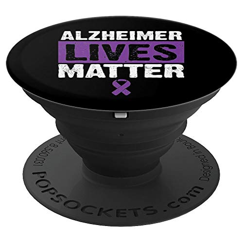 Alzheimer Lives Matter Purple Ribbon Awareness Support Gift - PopSockets Grip and Stand for Phones and Tablets