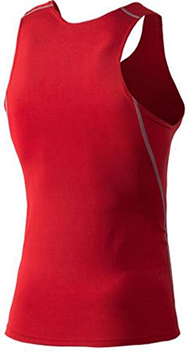 Findci Mens Quick drying Cool Sports Tight Sleeveless Shirt (XXL, Red)