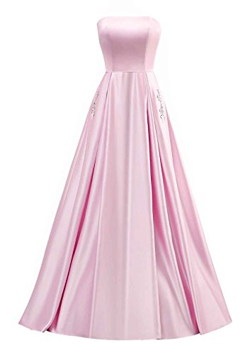 Women's A Prom Pink Satin Beaded Evening Pocket Long Gowns with Homecoming Changuan Line Dress 5qYxd6wUq