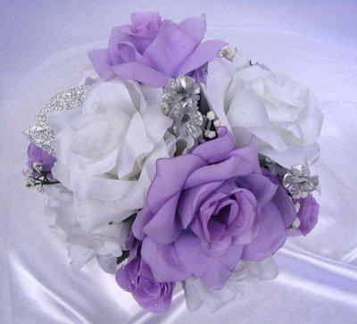Amazon Wedding Bouquet Bridal Silk Flowers LAVENDER SILVER WHITE Cascade 21 Pcs Bouquets Package Decoration Centerpiece RosesandDreams Home