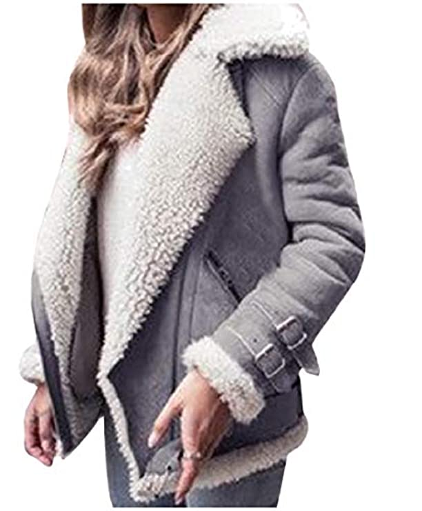 Fleece Sherpa Casual Suede Outdoor Notch Collar Zip Coat Women Faux Mfasica 1tqx7w