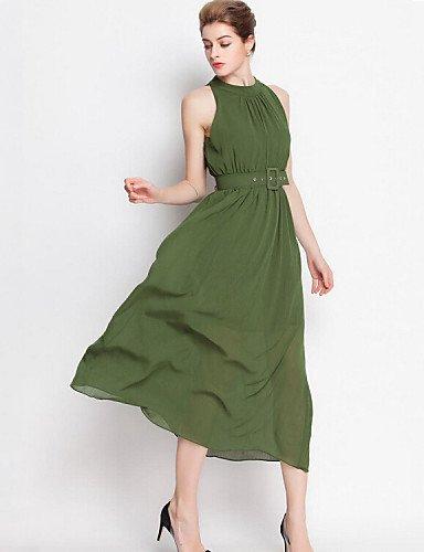 PU&PU Robe Aux femmes Gaine / Swing Street Chic,Couleur Pleine Licou Midi Polyester , army green-one-size , army green-one-size