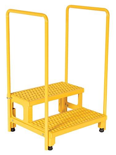 Yellow Handrails - Vestil ASP-24-HR Steel Adjustable Step Mate Stand, 2 Step with Handrail, 24