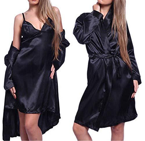 Hot Sexy Lady Satin Robe Sleepwear Nightdress G-string Pajamas SET