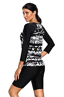 Arctic Cubic 2 PC Long Sleeve Abstract Padded Tankini Top and Shorts Bottom Wetsuit Swimsuit Set