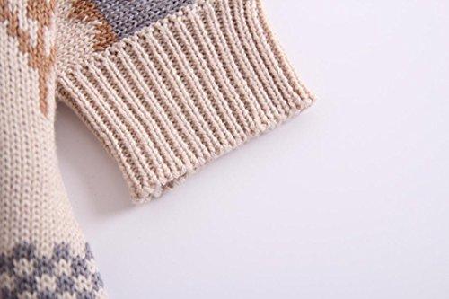 Omiky® Winter-Baby-Jungen-Mädchen-gestrickter mit Kapuze Weihnachtsrotwild-Outwear-Mantel-Mantel Weiß