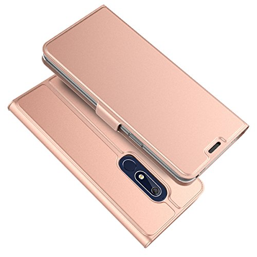 TOTOOSE Nokia 5.1 Case,[ Shock Absorbent ] Leather Case PU Leather Kickstand Wallet Cover Durable Flip Case for Nokia 5.1 Rose Gold