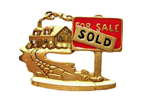 AJC Co. Gold-Plated Relator Real Estate Agent Home House For Sale Pin Brooch