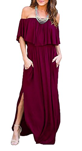 LILBETTER Women's Off The Shoulder Loose Plain Maxi Dresses Casual Long Dresses with Pockets (Wine Red M)