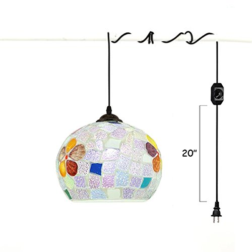 Kiven Plug-in Tiffany Pendant Lights Kitchen Glass Suspension Chandelier With15ft UL Certification Black Cord with On/Off Dimmer Switch Bulb Included TB0248 ()