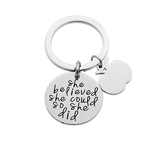 CAROMAY Best Friend Family Key Chain Ring Lucky - She Believed She Could So She Did