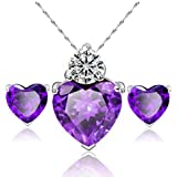 Women Gold Plated Love Heart Crystal Jewelry Sets Wedding Necklace Earring sets#by pimchanok shop (1)