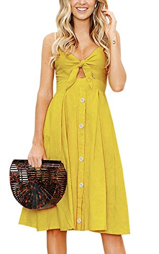 ECOWISH Womens Dresses Summer Tie Front V-Neck Spaghetti Strap Button Down A-Line Backless Swing Midi Dress 1603 Ginger Yellow XL