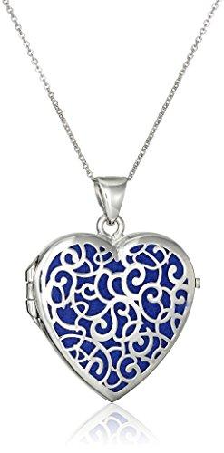 Sterling Silver Italian Dark Blue Heart Locket with Freeform Design Pendant Necklace, ()