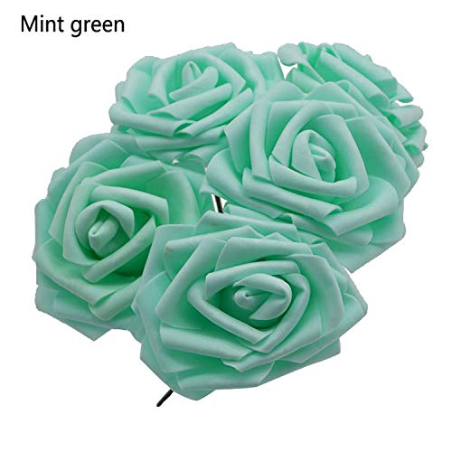 (OUOK 10 Heads 8CM Pretty Charming Artificial Flowers PE Foam Rose Flowers Bride Bouquet Home Wedding Decor Scrapbooking DIY Supplies,Mint Green)