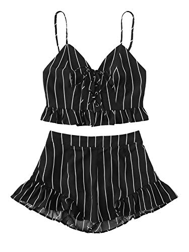 SweatyRocks Women's 2 Piece Outfits Halter Sleeveless Crop Cami Top with Shorts Black XS ()
