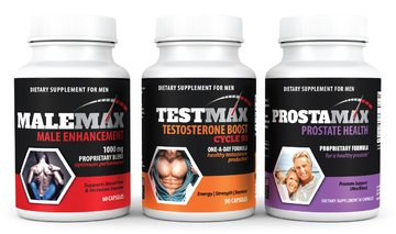 Max Pack- Complete Male Enhancement Package- Contains 1 Bottle MaleMax Male Enhancer- 1 Bottle TestMax Natural Testosterone Booster- 1 Bottle ProstaMax Prostate Support Supplement- All a Man Needs! by Max