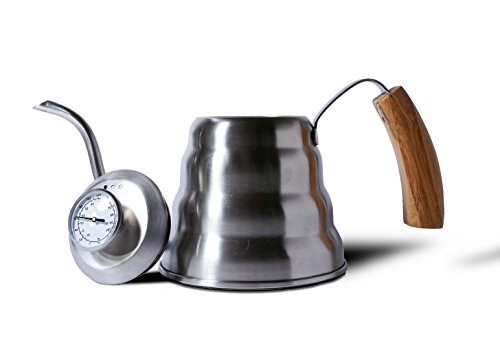 Heiwa Pouring Kettle w Bamboo Handle, 1.2 litre Thermometer lid