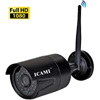 Wifi Camera ICAMI HD 1080P Outdoor Security Camera Wireless 2MP IP Camera Wifi Surveillance Camera Night Vision Support Remote Viewed by Iphone,Andriod Phone,Pad and Windows PC ,Web