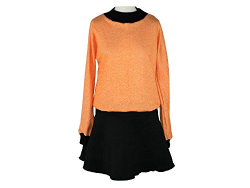 Schwarz Langarm design Orange dunkle Kleid qAUXvw0