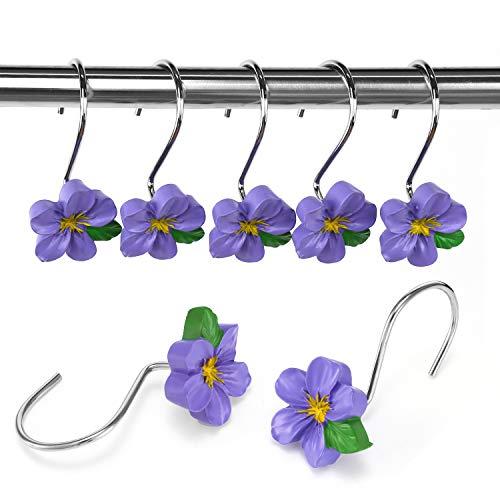 Dularf Creative Cartoon Decorative Shower Curtain Hooks-12PCS Shower Rings for Bathroom Bedroom Decor Baby Kids (Purple)